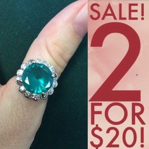 Big Green Rhinestone Cocktail Ring